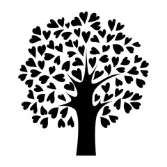 abstract black heart tree, isolated plant sign, silhouette vector