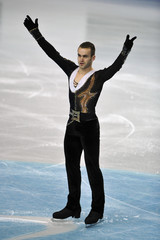 Van Der Perren of Belgium acknowledges the crowd after withdrawing with an injury from the men's free skating programme at the European Figure Skating Championships at the Motorpoint Arena in Sheffield