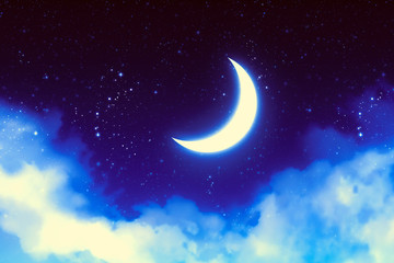Crescent Moon over Starry Sky