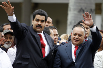 Venezuelan Vice President Maduro arrives with National Assembly President Diosdado during the assembly inauguration in Caracas