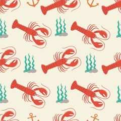 Lobster seamless pattern. Can be used for wallpaper, t-shirt pattern, web page background, print, wrapping and much more!