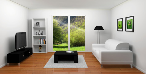 Salon 3D vue jardin