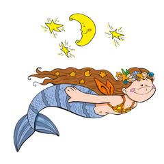 Mermaid swimming by night