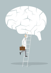 Alzheimer Treatment Concept:: doctor going up by stair to fix the broken brain.