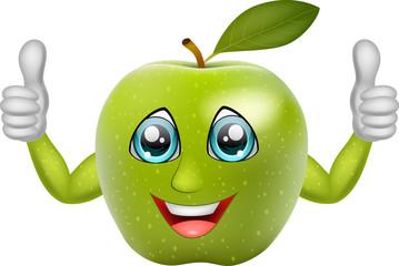 Cartoon apple giving thumbs up. Vector illustration