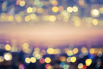 City light blurred. Green tone. Abstract bokeh background.