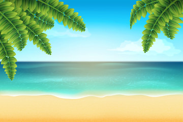 Tropical landscape with palm leaf and sea beach. Summer background. Vector illustration