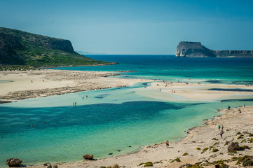 Balos beach, Greece Crete, view from the beach. Yellow sand and rocks