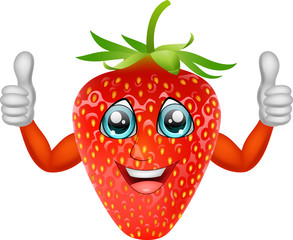 Cartoon strawberry giving thumbs up. Vector illustration