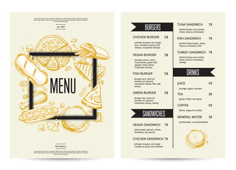 Restaurant menu with burgers, sandwiches and drinks. Fast food vector design with hand drawn pizza, hot dog, chicken, drink pencil doodles. Cafe price catalog, junk food card with hand drawn graphic