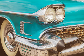 Front of a blue classic American car