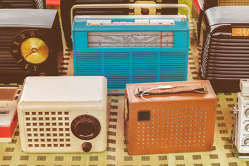 Old radio's for sale on a flee market