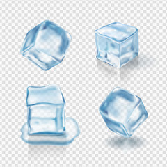 Transparent ice cubes in light blue colors. Realistic vector
