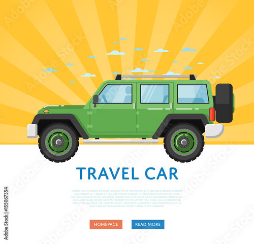 Website design with extreme travel car  Off road 4x4 auto