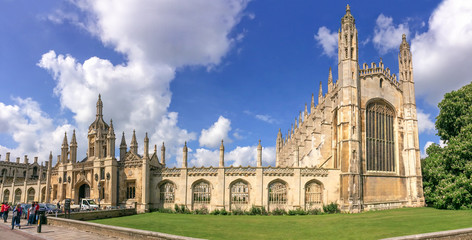 Panorama of the famous King's college university of Cambridge and chapel in Cambridge, UK