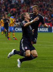 Bayern Munich's Bastian Schweinsteiger celebrates after scoring against Valencia during their Champions League Group F soccer match in Munich