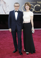 """Christoph Waltz, best supporting actor nominee for his role in """"Django Unchained"""", and his wife arrive at the 85th Academy Awards in Hollywood"""