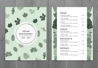 Modern Green Two Page Menu Layout