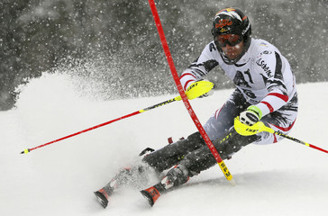Matt of Austria clears a gate during the men's slalom race at the FIS Alpine Skiing World Cup in Kitzbuehel