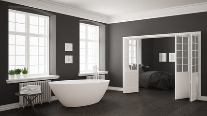 Minimalist scandinavian white and gray bathroom with bedroom in the background, classic interior design