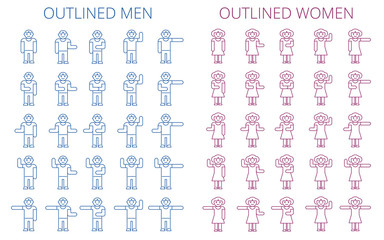Stick figures icon set. Outlined pictogram of men and women. Various human poses and gestures concept. Flat line vector elements for web design, infographic, social networks and business presentation.