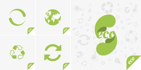 Set green icons of ecology. Flat vector elements EPS 10.