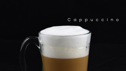 Hot cappuccino coffee with milk layer