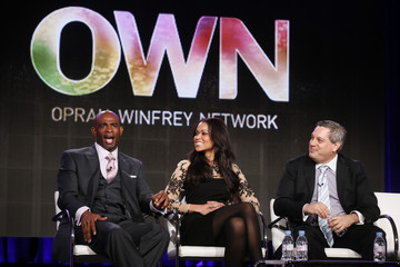 """Deion Sanders, Tracey Edmonds, and Executive Producer Eli Frankel talk about OWN: Oprah Winfrey Network's """"Deion's Family Playbook"""" during the Winter 2014 TCA presentations in Pasadena"""