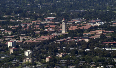 Stanford University's campus is seen in an aerial photo in Stanford