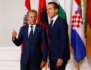 Austrian Chancellor Kern welcomes European Council President Tusk in Vienna