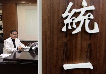 Pro-China activist Chang An-le poses for a photograph in his office after an interview in Taipei