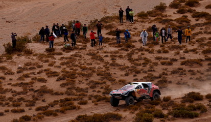 Peterhansel of France drives his Peugeot during the fifth stage Jujuy-Uyuni in the Dakar Rally 2016 near Uyuni