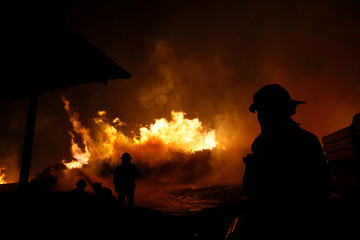 Firefighters try to stop the fire as the worst wildfires in Chile's modern history are ravaging wide swaths of the country's central-south regions, in Santa Olga