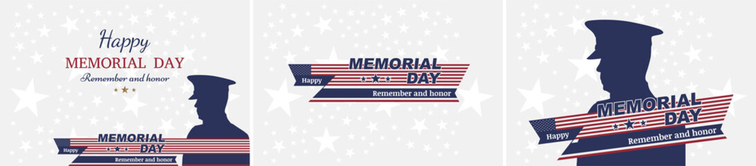 Set happy memorial day. Greeting cards with flag and soldier on background. National American holiday event
