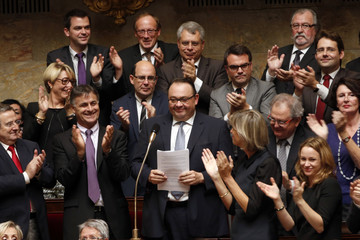 Patrick Mennucci, French Socialist Party deputy and candidate for the 2014 Marseille local elections, is applauded during the questions to the government session at the National Assembly in Paris