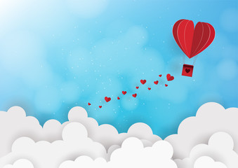 Illustration of love and valentine day,Origami made hot air balloon flying. Vector illustration