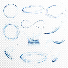 Set of transparent water splashes, circles, whirlpools, drops and crown from falling into the water in light blue colors, isolated on transparent background. Transparency only in vector file