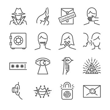 Secret and confidential vector line icon set. Included the icons as secret, lock, whisper, shut up and more.