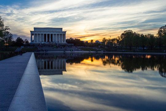 Abraham Lincoln Memorial at sunset, Washington DC, USA