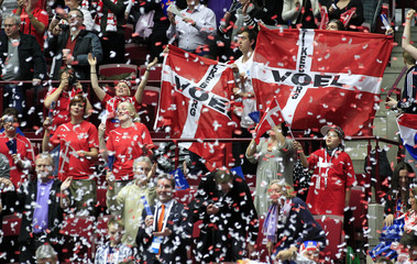 Denmark's fans wave national flag ahead of group C match between Denmark and Serbia during the Men's Handball World Championship in Malmo