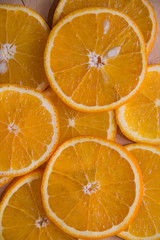 Juicy fresh orange. Healthy eating. Orange background