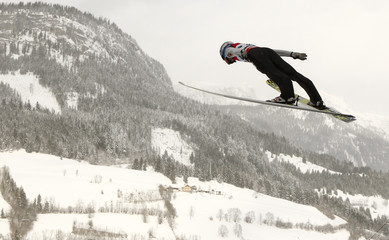 Tande of Norway performs a trial jump during the Ski Flying World Championships at Kulm hill in Bad Mitterndorf