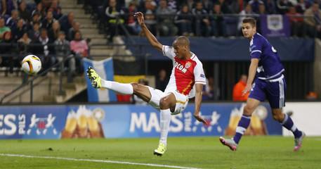 Fabinho of Monaco kicks the ball during a Europa League soccer match against Anderlecht in Brussels
