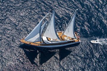 A yacht at sea.