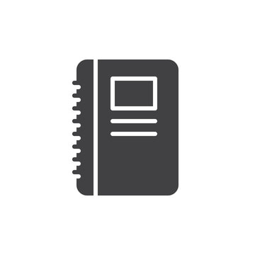 Notebook icon vector, filled flat sign, solid pictogram isolated on white. Symbol, logo illustration. Pixel perfect