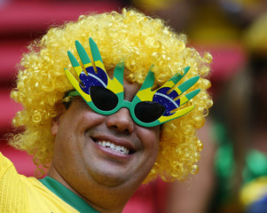 A Brazil supporter poses for a picture before their 2014 World Cup Group A soccer match against Cameroon at the Brasilia national stadium in Brasilia