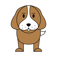 white and brown silhouette of cartoon front view dog animal vector illustration