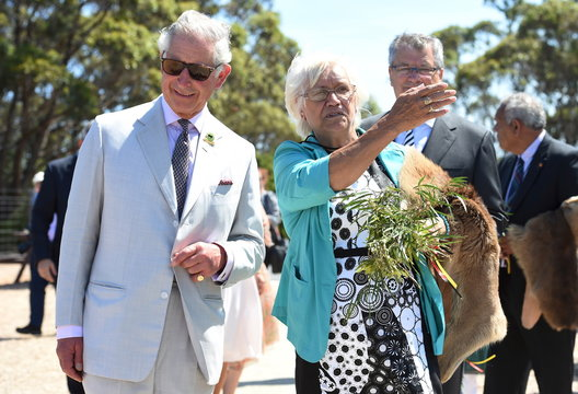 Britain's Prince Charles is welcomed to Mt Adelaide lookout by local Carol Pedersen in Albany, Western Australia
