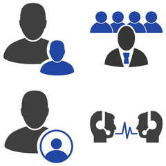 Staff Management flat vector pictogram set. An isolated icons on a white background.