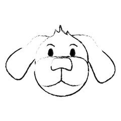 monochrome blurred silhouette of cartoon front view face dog animal vector illustration